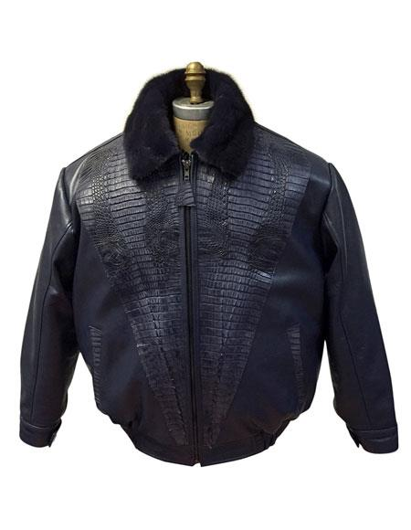 SKU#AP608 G-Gator Mens Black Leather Jacket with World Best Alligator ~ Gator Skin Trimming and Mink Collar