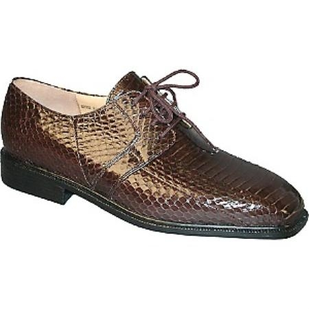 SKU#NMG875 Genuine Snake 15522 Brown Plain toe 4 eyelet blucher with snake skin $139