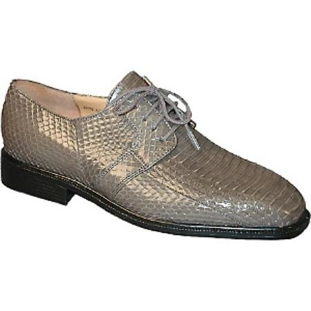 SKU# FJC228 Genuine Snake 15522 Gray Plain toe 4 eyelet blucher with snake skin $119