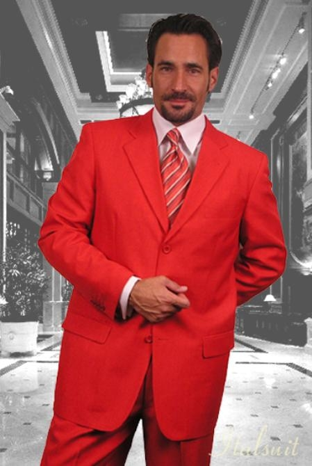 SKU#EJ532 Gianni Mens Red Wool Feel Poly-Rayon Suit 3 Button Super 120S Extra Fine 2PC
