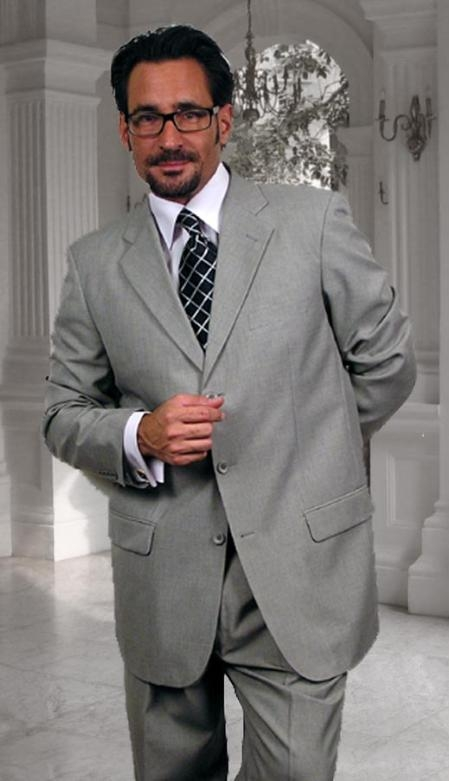 SKU#PD456 Gianni Gray 3 Button Super 120s Wool Suit $125