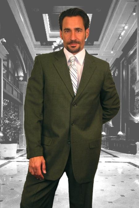 SKU#BK711 Gianni Olive 3 Button Super 120s Wool Suit $125