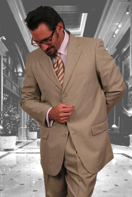 SKU#HJ718 Gianni Sand 3 Button Super 120s wool feel poly~rayon Khaki Suit $110