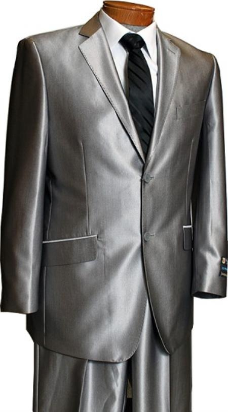 SKU#LX8201 Sateen Metallic Bight Mens 2 Button Silver Slim Fit Shark Skin Suit Tuxedo looking