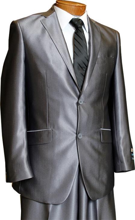 SKU#MU3819 Mens 2 Button Charcoal Grey Slim Fitted Shiny Flashy Shark Skin Suit