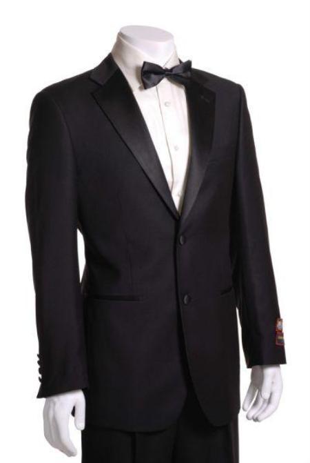 SKU#SL3748 Mens Side Vented Jacket & Flat Front Pants Tuxedo - Super 150s Fabric Black $125