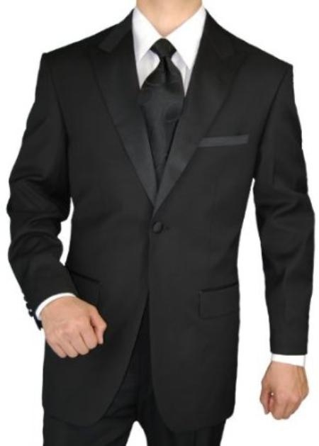 SKU#MQ2937 Giorgio Mens Tuxedo Suit 1 Button 2pc Peak Lapel Jacket with Flat Front Pants