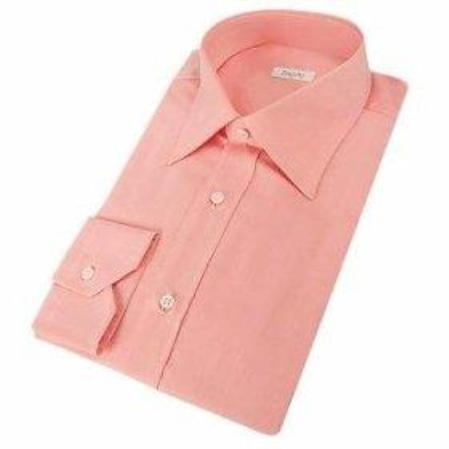 SKU#118FRA63 Gitman Gold Pink Spread Collar 100s Pin-Point Dress Shirt $100
