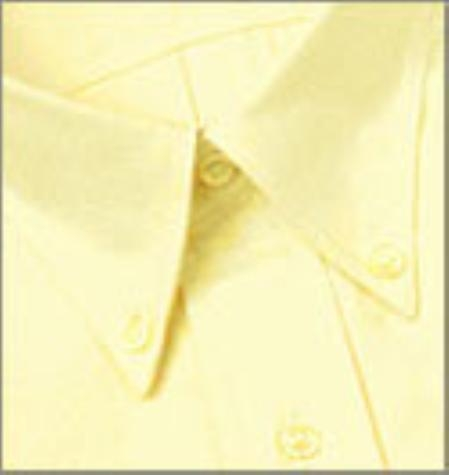 SKU#118FRA73 Gitman Gold Yellow Spread Collar 100s Pin-Point Dress Shirt $100