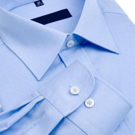 SKU#011WFSC40 Gitman Solid Blue Spread Collar Non-Iron Dress Shirt $75
