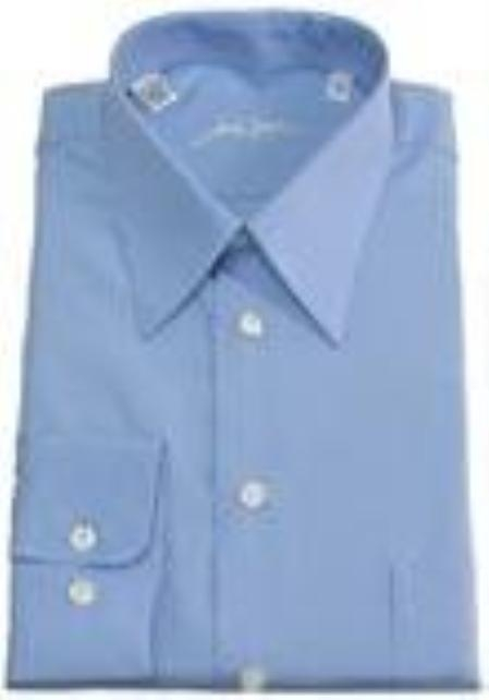 SKU#110CH40 Gitman Solid Blue Spread Collar Pin-Point Dress Shirt $75