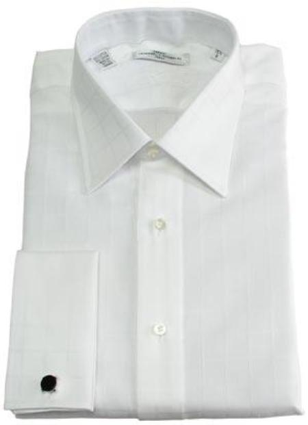 SKU#110MFC10 Gitman Solid White Point Collar French Cuffed Pin-Point Dress Shirt $80