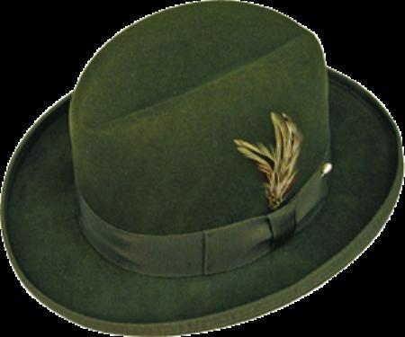 SKU# SQK753 GODFATHER NEW MENS Olive Green 100% Wool Homburg Dress Hat 4201 $59
