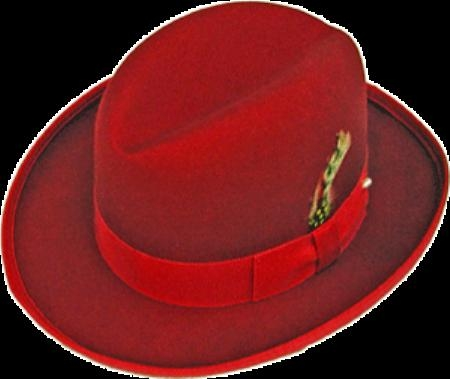 SKU# INU131 GODFATHER NEW MENS Red 100% Wool Homburg Dress Hat 4201