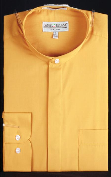 Honey Gold Mens Banded Collar ~ Oriental Mao Chines Style collarless Mandarin shirts