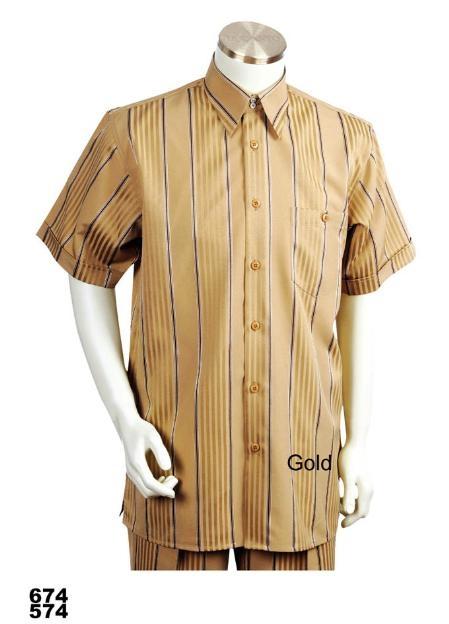 SKU#VE9901 Mens Casual Walking Suit Set Gold (Shirt & Pants Included)