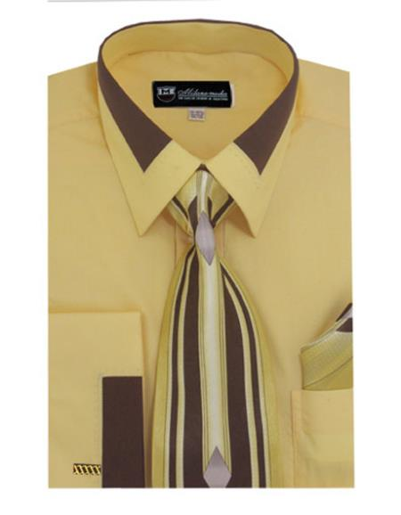 Gold Fashion Contrast Collar French Cuff Matching Tie and Hanky Set Men's Dress Shirt
