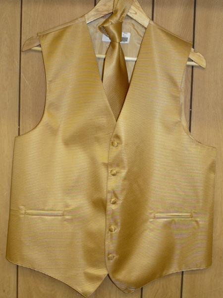 gold Groomsmen Dress Tuxedo Wedding Vest  & Tie set