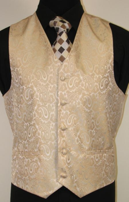 Mens Gold Vest Set With Vest Waistcoat Bow, Tie And Hankie