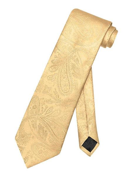 Mens Gold Paisley Pattern Polyester Neck Tie