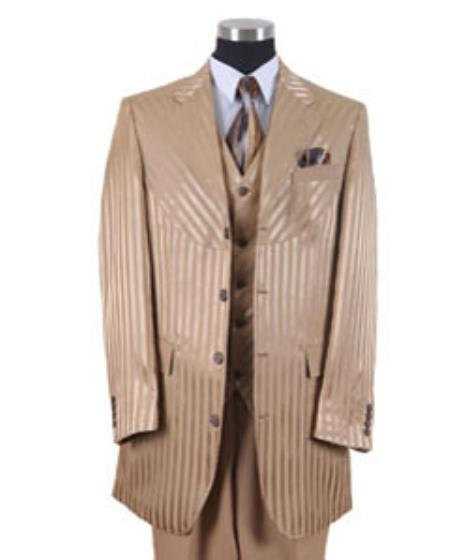 Gold Shiny Stripe Urban Fashion Suit