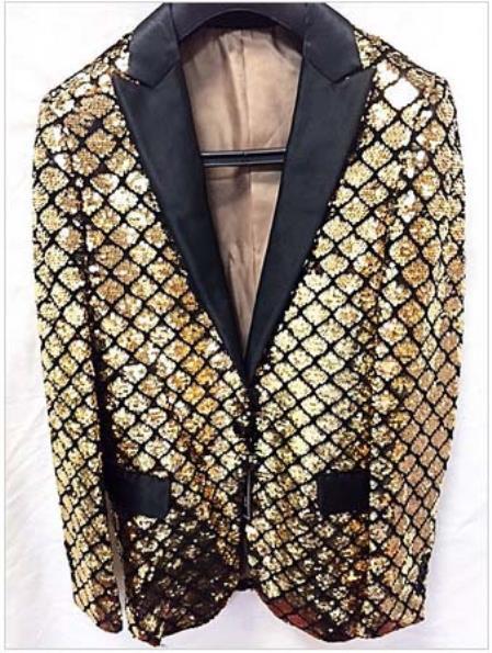 Men's Gold Shiny Flashy Fashion Sequin Blazer ~ Sport coat Dinner Jacket