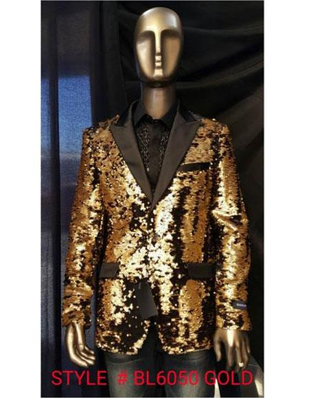 Mens Fashion Gold Shiny Sequin Paisley Blazer Sport coat Tuxedo Jacket