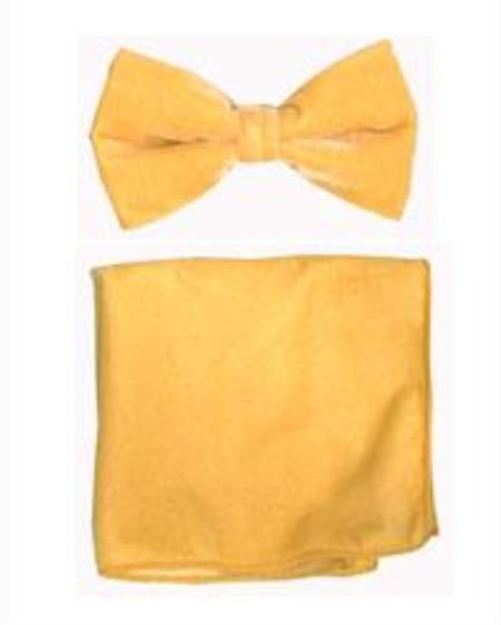 Velvet Bowtie with Hanky Gold