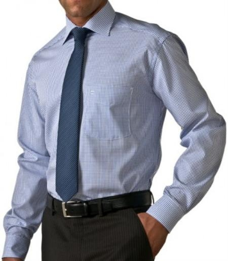 Gitman Gold 100% 2-Ply cotton in white and blue plaid, with spread collar and barrel cuff $99