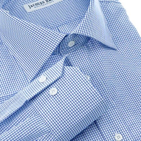 Gitman Gold 100% 2-Ply cotton in a blue gingham plaid, with spread collar and barrel cuffs $99
