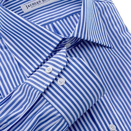 Gitman Gold 100% 2-Ply cotton in a white with blue stripes, with spread collar and barrel cuffs $99