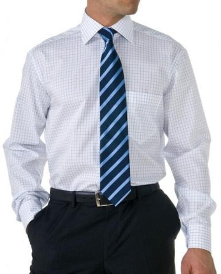 Gitman Gold 100% 2-Ply cotton in white and black check, with spread collar and barrel cuffs $99.