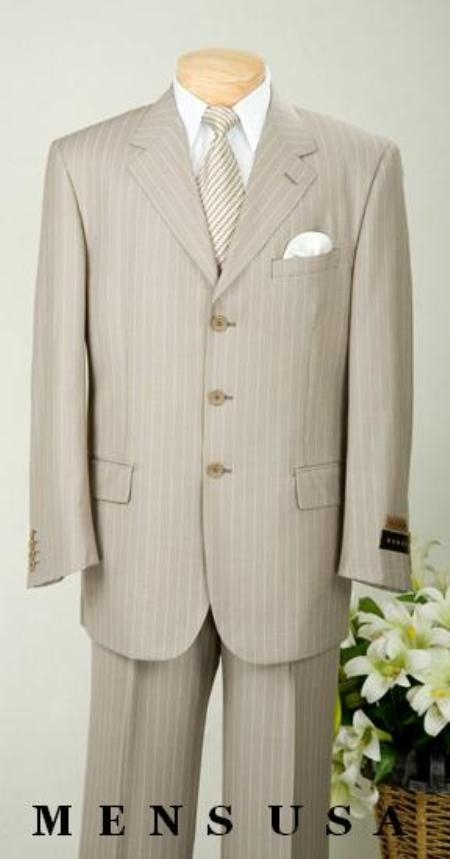 SKU#ZK7 $1295 Signature Gold Gorgeous Tan~Beige Stripe 3 Button Pinstripe notched lapel Ultimate Qua