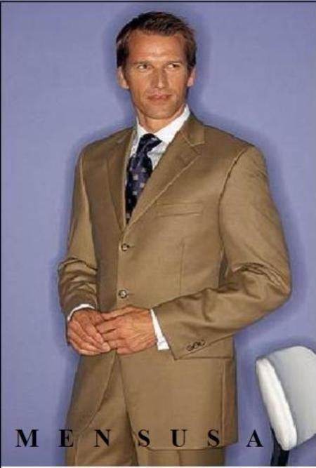 SKU# OVK401 Gold / Tan Super 100s Wool 3 Buttons (Soft , Light Weight , Classy) $165