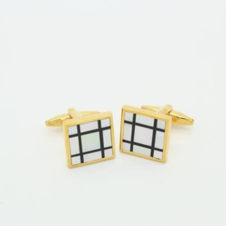 SKU#PN_Q54 Golden Black & White Onyx Cufflinks Set