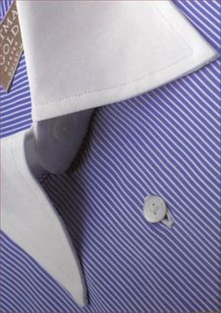 Gitman Golden Elite Small Blue Pinstripe Contrast Collar 120s Broadcloth $149