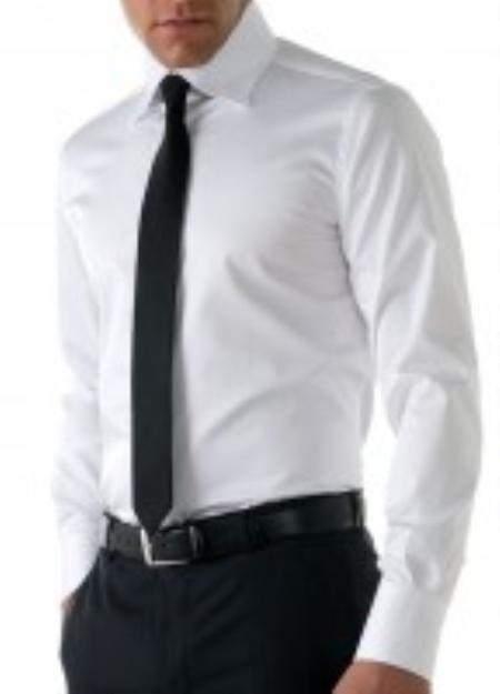 Gitman Golden Elite Super 200s Broadcloth in solid white with french cuffs and spread collar $165