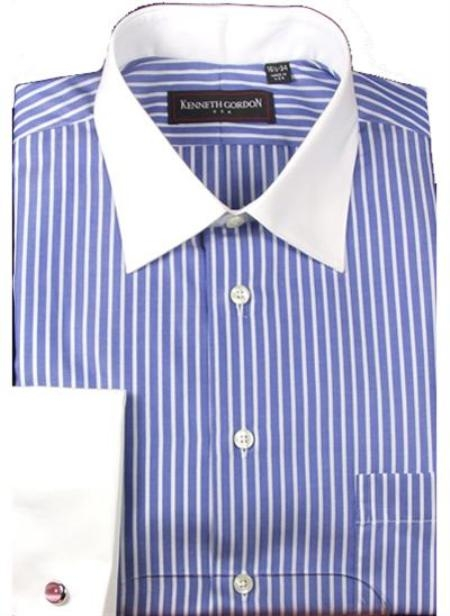 Kenneth Gordon Dress Blue Stripe Spread Collar + French Cuffs $60.00