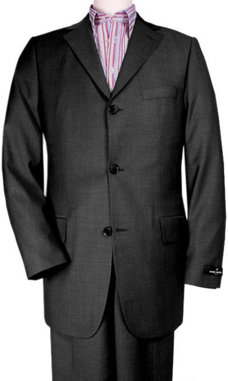SKU#JH700 Gorgeous Black tone on tone Shadow Pinstripe 3 Button Pinstripe Ultimate Wool Feel Touch Poly Rayon & Tayloring $175