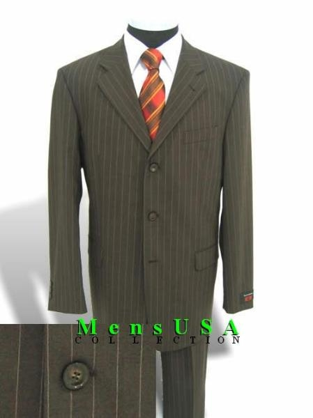 SKU# EIH709 $1295 ZK7 Gorgeous Olive Green Pinstripe Three Button Pinstripe Ultimate Wool&Tailoring Double Vent