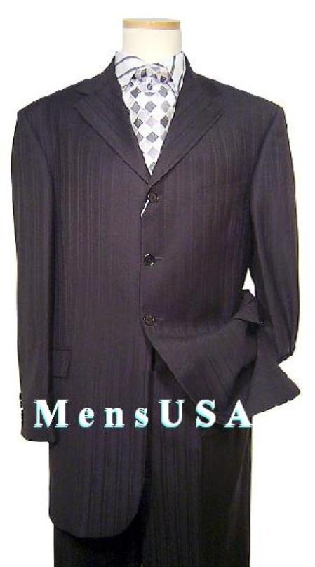 SKU# WCK342 $795 SKI3 Gorgeous Ton on Ton Shadow Pinstripe 3 Button Ultimate Quality Double Vent Real Authentic Mini PinstripePleated Pants $199