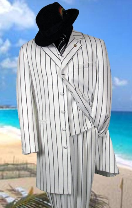 SKU# MYZ7 Gorgeous White & Black Pinstripe Pattern Fashion FASHION ZOOT WITH VEST