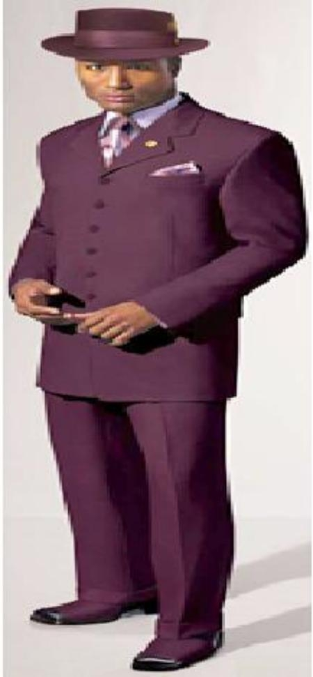SKU# AAM201 Grape~Wine~Eggplant Fashion Mens dress 5 Button Suit $139