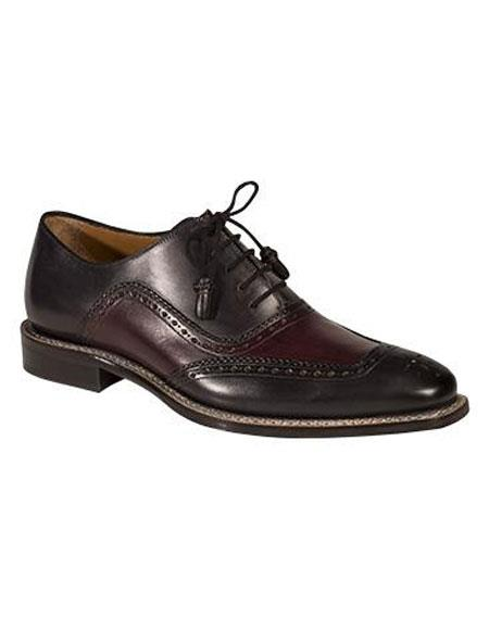 Buy AP490 Mens Graphite/Burgundy ~ Wine ~ Maroon Color Two Tone Calfskin Lace Leather Shoes Authentic Mezlan Brand