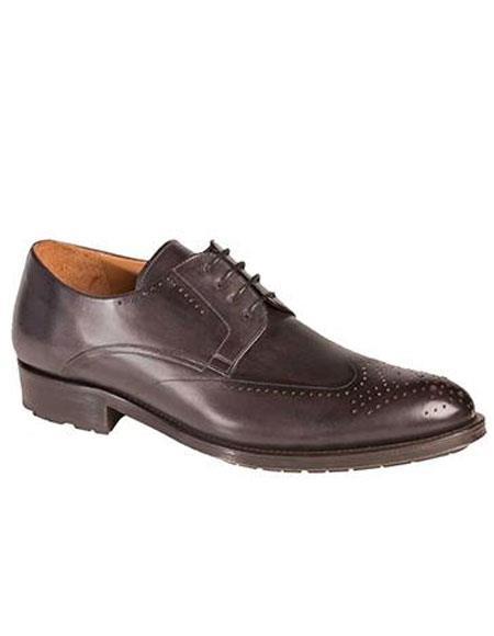 AP489 Mens Graphite Calfskin Lace Wingtip Oxford Leather Shoes Authentic Mezlan Brand