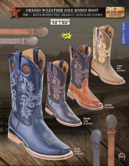 SKU#W44S Los Altos Grasso w/ Leather Sole Rodeo Mens Cowboy Boots Diff. Colors/Sizes