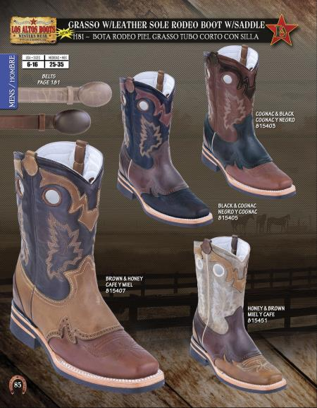 Los Altos Mens Grasso w/ Leather Sole Rodeo Boot w/ Saddle Diff. Colors/Sizes
