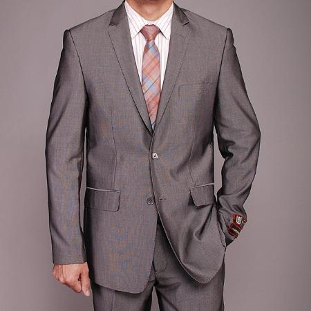 SKU#HL7001 Mens European Skinny Notch Lapel No Pleated Pants Gray Nailhead 2-Button Slim-fit Suit