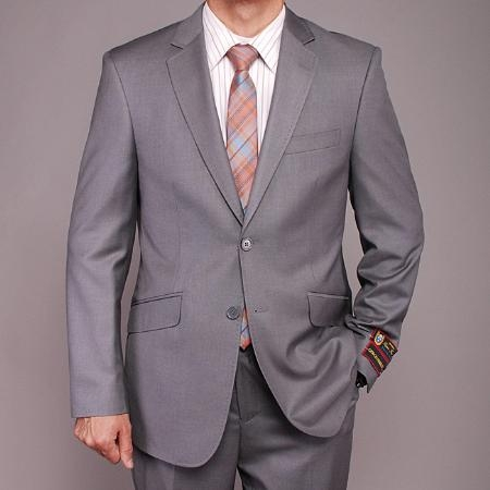 SKU#TR2014 Mens European Skinny Notch Lapel No Pleated Pants Gray patterned 2-button Slim-fit Suit