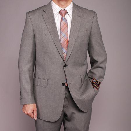 SKU#TF7410 Mens Gray Birdseye 2-button Suit